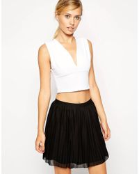 ASOS - Asos Crop Top With Deep Plunge In Rib - Lyst