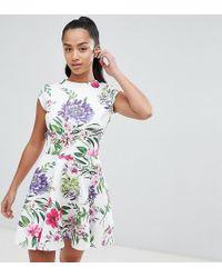 John Zack - Allover Printed Mini Prom Dress - Lyst