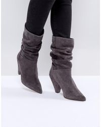 ASOS - Cianna Suede Slouch Cone Heel Boots - Lyst