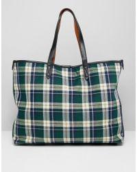 Warehouse - Shopper Bag In Green Tartan Check - Lyst