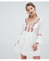Vila - Embroidered Smock Dress - Lyst