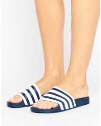 adidas Originals - Originals White And Navy Adilette Slider Sandals - Lyst