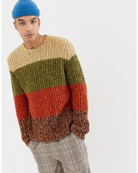 ASOS - Heavyweight Knitted Stripe Jumper In Brown - Lyst