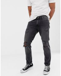 Abercrombie & Fitch - Slim Fit Destroy Jeans In Washed Grey - Lyst