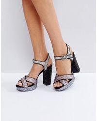 London Rebel - Glitter Platform Sandal - Lyst