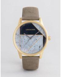 Unknown - Urban Geo Leather Watch In Grey - Lyst