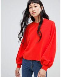 Weekday - Balloon Sleeve Sweatshirt In Organic Cotton - Lyst
