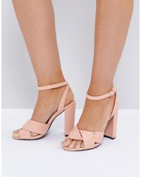 The March - Twist Front Dusky Pink Block Heeled Sandals - Lyst
