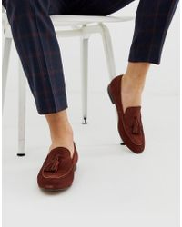 41d395a8305 H by Hudson Wide Fit Bolton Tassel Loafers In Rust Suede in Brown ...