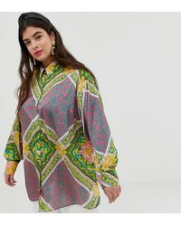 787e51b26 ASOS Asos Design Curve Oversized Satin Long Sleeve Shirt In Scarf Print