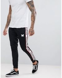 Good For Nothing - Skinny Joggers In Black With Taping Logo - Lyst