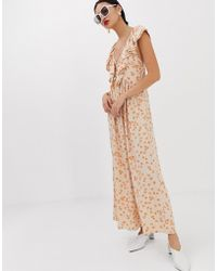 Lost Ink - Maxi Dress With Ruffle Collar And Volume Skirt - Lyst