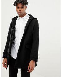 Emporio Armani - Borg Lined Duffle Coat In Black - Lyst