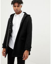 Emporio Armani - Borg Lined Duffle Coat In Black - Lyst
