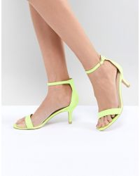 Glamorous - Neon Yellow Barely There Kitten Heeled Sandals - Lyst