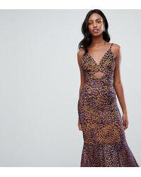 ASOS - Asos Design Tall Animal Jacquard Cut Out Midi Peplum Dress - Lyst