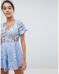 Love Triangle - Lace Playsuit - Lyst