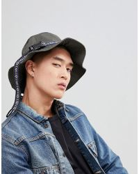 ASOS - Design Bucket Hat In Khaki With Aztec Band And Fastening Detail - Lyst