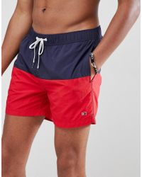 Tommy Hilfiger - Colourblock Flag Logo Swimshorts In Navy/red - Lyst
