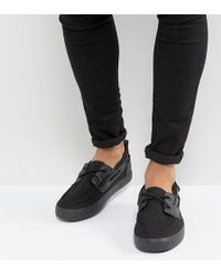 ASOS - Wide Fit Boat Shoes In Black Canvas - Lyst