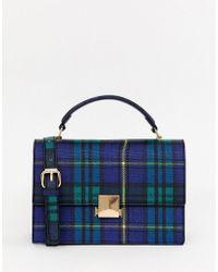 Miss Selfridge - Structured Across Body Bag In Blue Tartan Check - Lyst