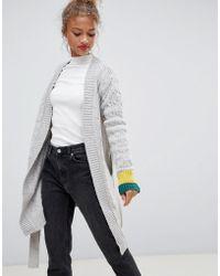 Blend She - Jilly Sporty Stripe Cuff Wrap Wool Blend Cardigan - Lyst