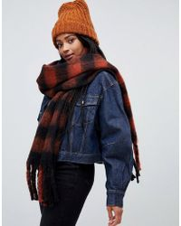 Monki - Check Scarf In Rust And Rust And Black - Lyst