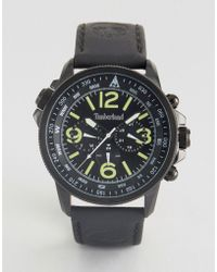 Timberland - Campton Mens Watch Black Leather Strp Black Stainless Steel Case Black Dial Multi-function - Lyst