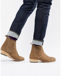ASOS - Stacked Heel Western Chelsea Boots In Stone Suede Emboss - Lyst
