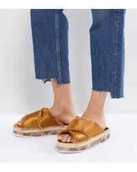 Sixtyseven - Adiva Mustard Flatform Espadrille Sandals - Lyst
