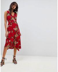 AX Paris - Leaf Print Frill Sleeve Dress - Lyst