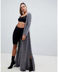 PrettyLittleThing - Eyelash Knit Maxi Cardigan In Gray - Lyst