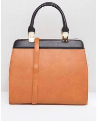 Yoki Fashion - Yoki Contrast Colour Block Tote Bag - Lyst