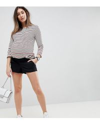 ASOS - Asos Design Maternity Chino Shorts In Black With Under The Bump Waistband - Lyst