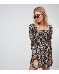 Reclaimed (vintage) - Inspired Mini Dress With Shoulder Puff In Tiger Print - Lyst