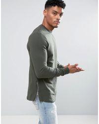 ASOS - Longline Muscle Fit Sweatshirt With Side Zip In Khaki - Lyst