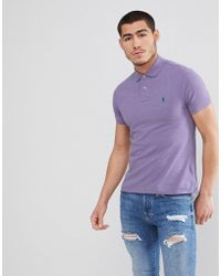 Polo Ralph Lauren - Slim Fit Pique Polo In Lilac Marl - Lyst
