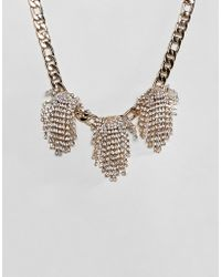 ASOS - Statement Necklace With Crystal Clusters And Chunky Chain In Gold - Lyst