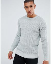 New Look - Textured Knit Jumper In Grey - Lyst
