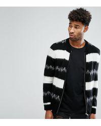 ASOS - Tall Mohair Wool Blend Bomber Jacket In Monochrome Stripe - Lyst
