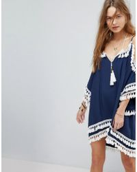 Surf Gypsy - Crochet Fringe Beach Cover Up - Lyst
