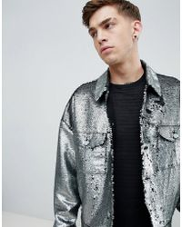 ASOS DESIGN - Festival Oversized Sequin Jacket In Silver - Lyst