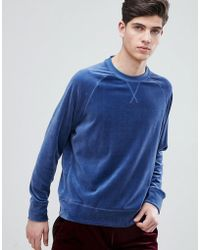 Mango - Man Velvet Sweatshirt In Blue - Lyst