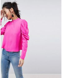 ASOS - Design Boxy Top With Exaggerated Sleeve - Lyst