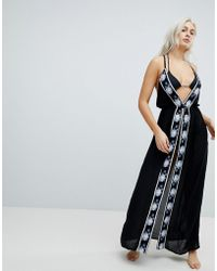 Liquorish - Split Front Maxi Beach Dress With Embroidery - Lyst