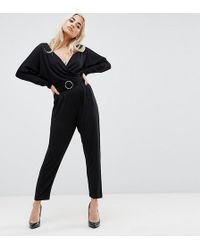 ASOS | Jersey Jumpsuit With Batwing Sleeve And Belt | Lyst