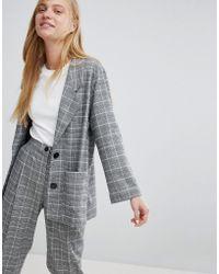 Monki - Check Print Tailored Blazer - Lyst