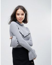 Soaked In Luxury - High Neck Jumper With Frill Detail - Lyst