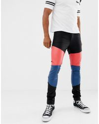 f455f533eb0b ASOS - Super Skinny Jeans In Leather Look With Colourblock Panels - Lyst