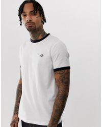 d768a28222bc Fred Perry Slim Fit Twin Tipped Ringer T-shirt In White in White for ...
